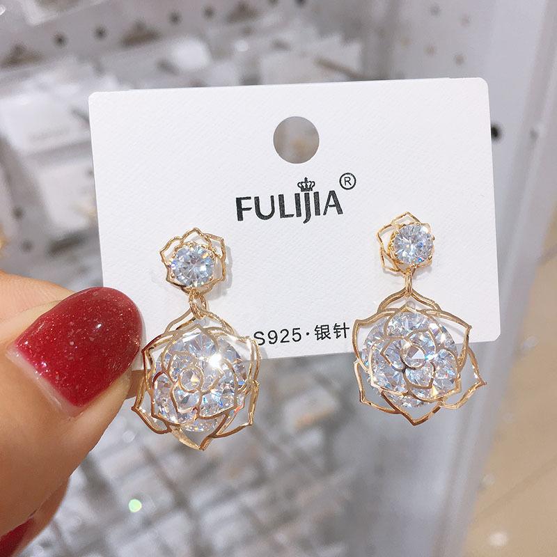 925银珍珠圆圈几何耳环气质韩国小清新甜美水晶锆石耳钉耳饰女