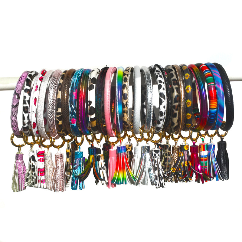 Fashion leather armband PU color bracelet keychain NHDP154410