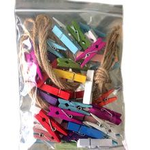 厂家直销 彩色变色小夹子木质彩色DIY照片装饰夹子带麻绳木夹