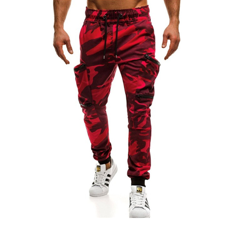 Cross border New Europe and America men's fitness camouflage sports pants pocket splicing casual pants for men in autumn and winter 2020