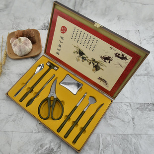 Hot selling factory wholesale stainless steel wooden box crab eight-piece crab tool set hairy crab kitchen tool crab scissors