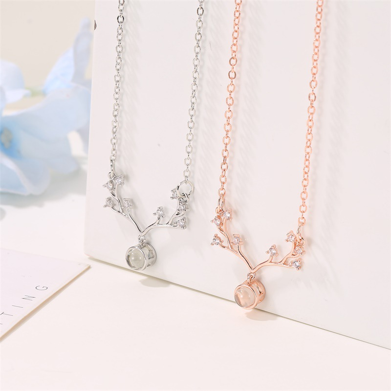 Antler necklace I love you necklace fashion Christmas gift NHDP176887