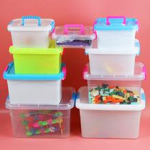 厂家直销PP食品级透明有盖塑料储物箱手提箱桌面收纳盒化妆盒