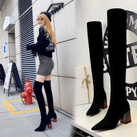 1718-12 European and American fashion simple thick heel high heel suede pointed sexy nightclub slim foot over knee boots
