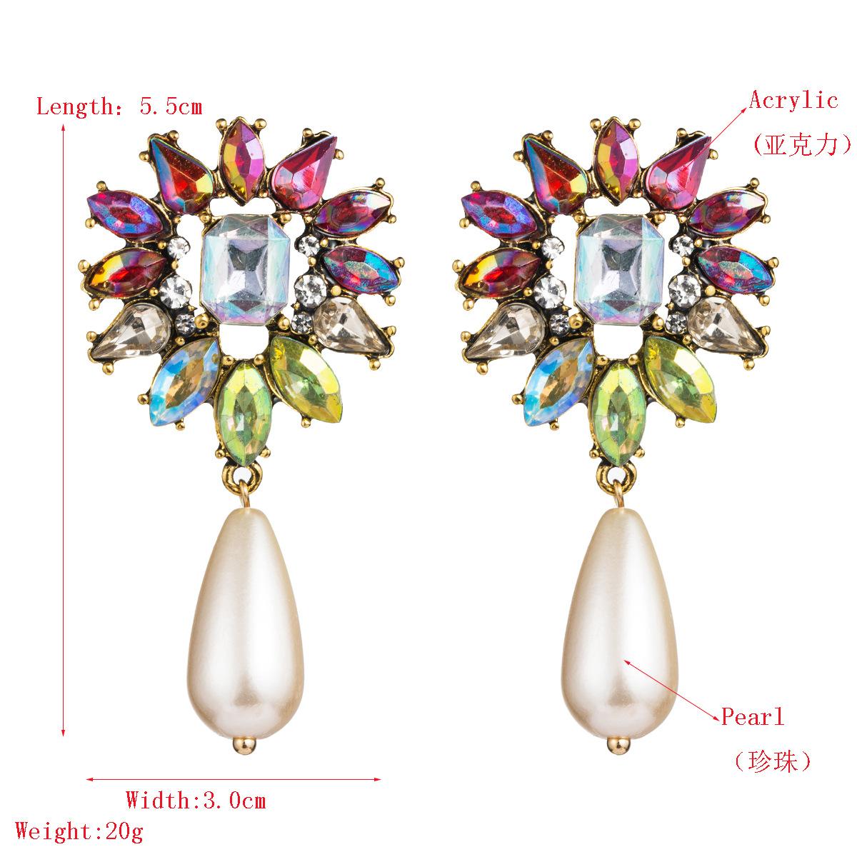 Fashion alloy flower earrings female long rhinestone pearl earrings retro creative earrings NHLN175534