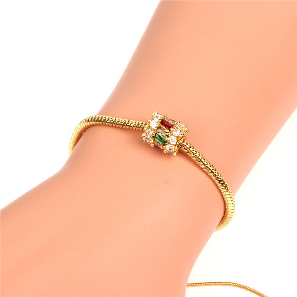 Nueva joyería de moda micro incrustaciones de circón pequeña cintura salvaje cuentas grandes agujero pulsera de hueso de serpiente mujeres al por mayor NHPY196213