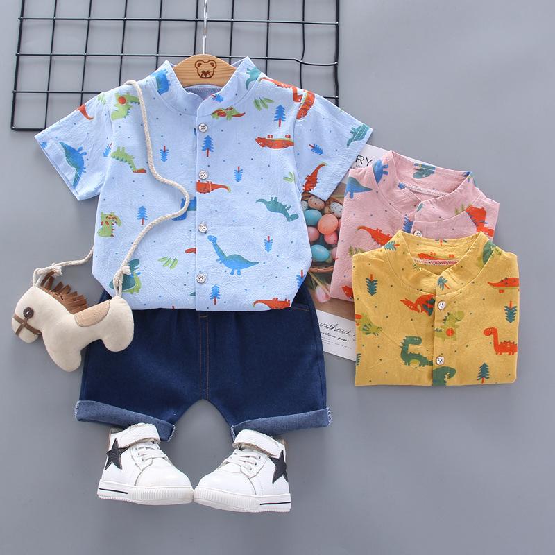 2020夏装新款男童卡通短袖衬衫套装男宝宝小绅士恐龙翻领童装衣服