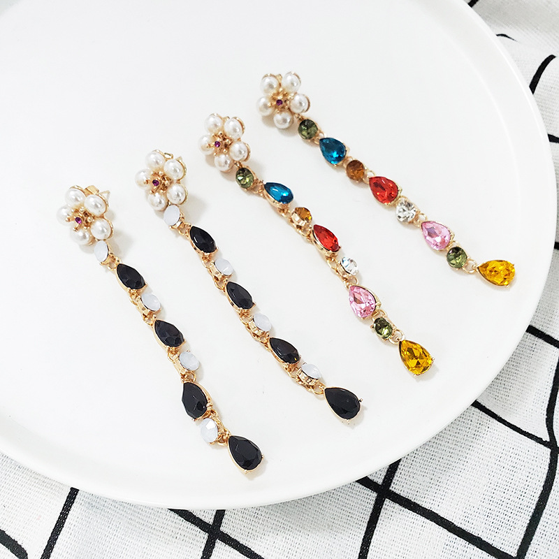 New beads with rhinestone drop earrings NHJJ142223