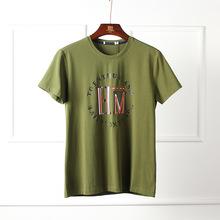 品牌男剪标2019 夏季新品舒?#24066;?#38386;绿色字母印花短袖T恤外贸原单