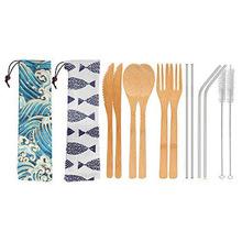 亚马逊跨境同款 竹餐具套装 不锈钢吸管布袋 印花束口 定制礼品