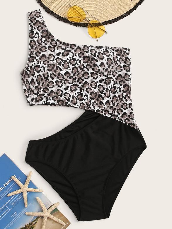 Bikini de una pieza para mujer, bikini de leopardo con costura sexy, bikini de un hombro NHHL204915