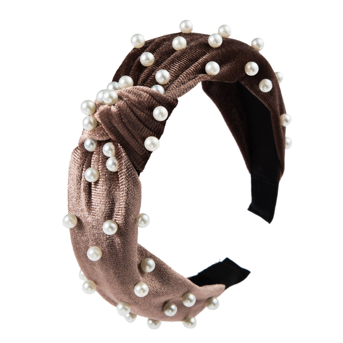 Fashion gold velvet pearl knotted wide-brimmed headband NHLN158396