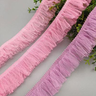 厂家供应涤纶网布切条花边流苏裙摆玩具装饰网纱花边五色系列
