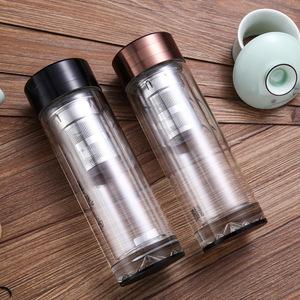 批发定制广告促销礼品杯印字双层透明商务水晶玻璃杯隔热防烫茶杯