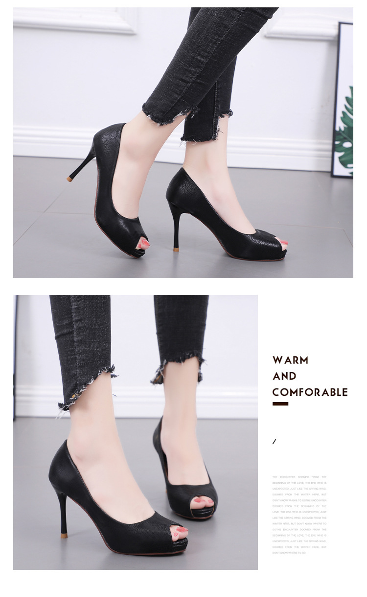 European and American fish mouth high-heeled shallow mouth waterproof platform shoes NHSO145572