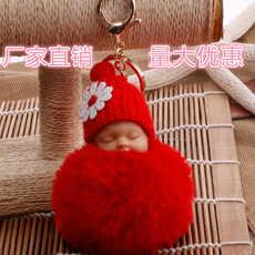 imitation rex rabbit fur ball cartoon sleeping doll pendant keychain  NHDI353073