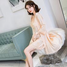 夏季薄款丝绸睡衣女 真丝性感睡裙女吊带裙冰丝睡袍短裤居家套装