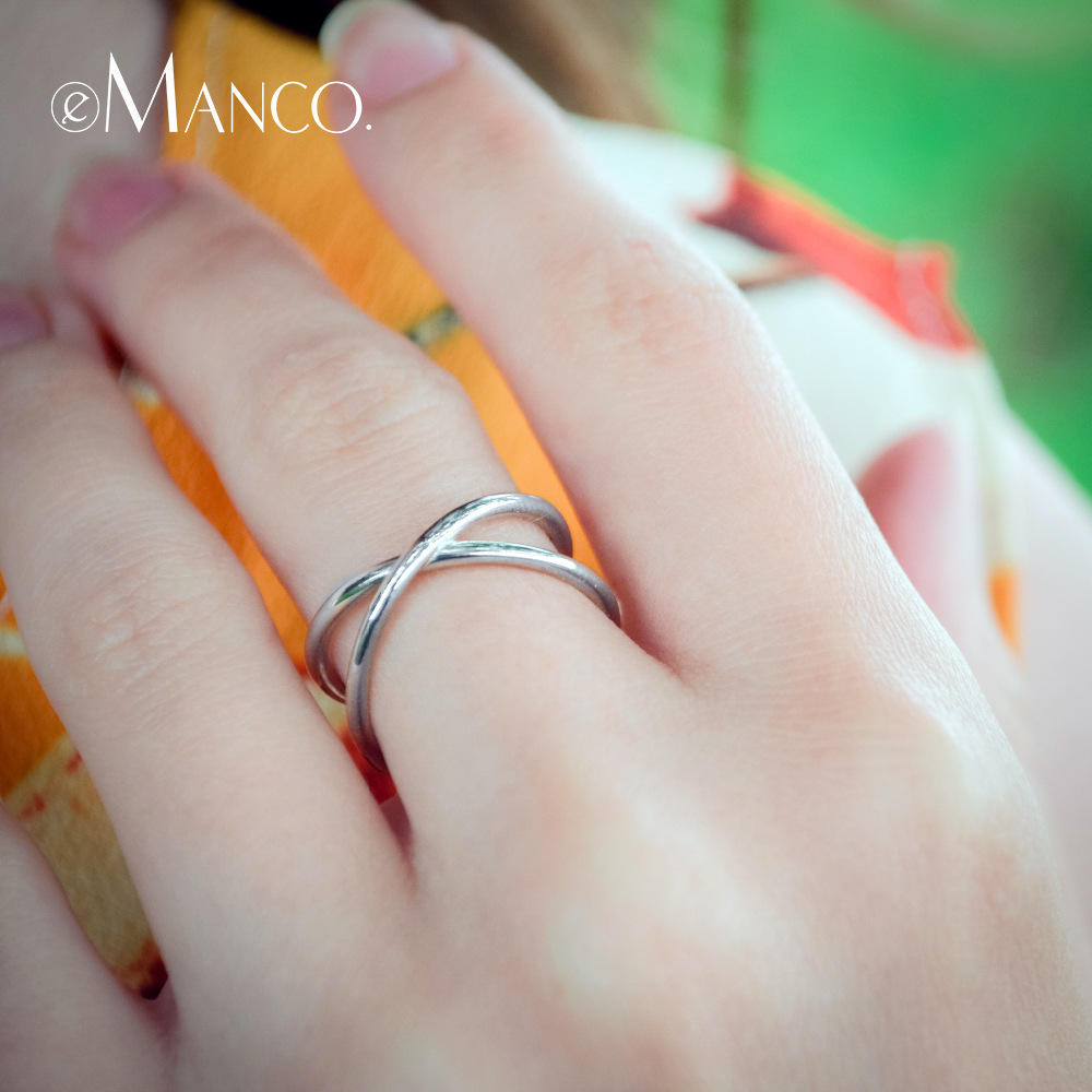 New popular Japanese and Korean version ring line winding personalized opening retro S925 Sterling Silver Ring Silver female