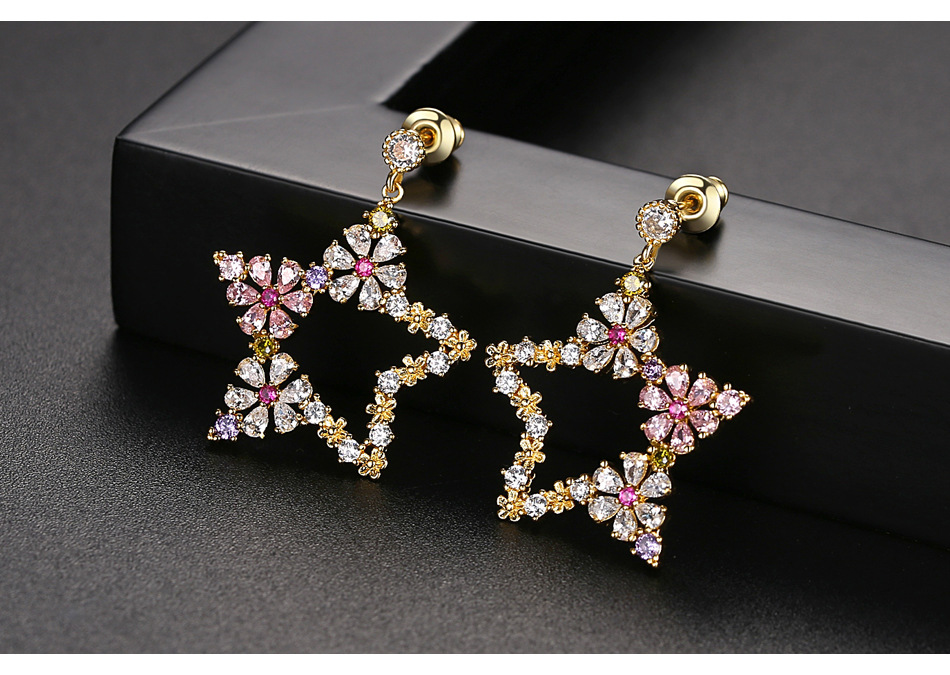 Pentagon Color Lady Petals Pendant Earrings Gift NHTM175989