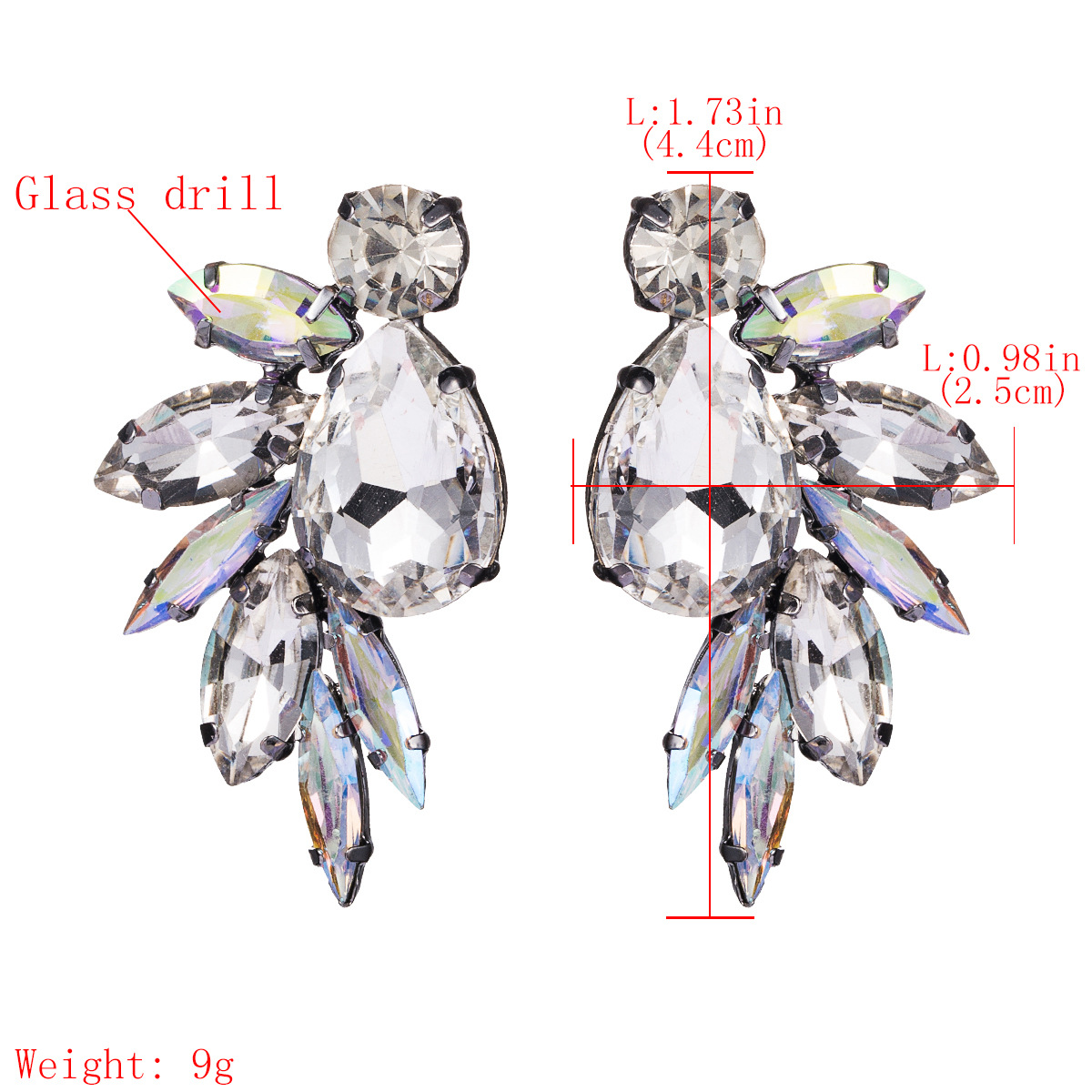 Earrings new fashion alloy diamond glass drill full diamond earrings female super flash ear NHJE176144