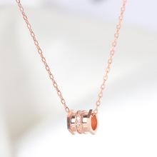 S925纯银项链女小蛮腰简约设计感18K玫瑰金锁骨链潮送闺蜜生日礼