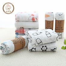 棉A類雙層紗布包巾襁褓巾嬰兒抱被蓋毯棉質無熒光柔軟多花代發