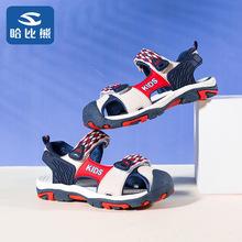 哈比熊2019夏新款兒童涼鞋男童包頭沙灘鞋韓版魔術貼童鞋一件代發