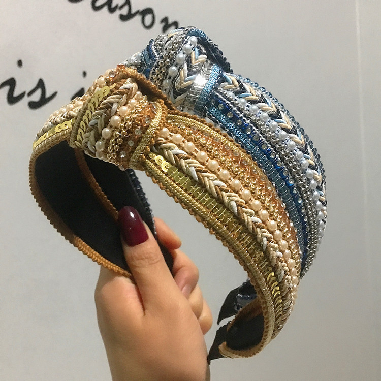 Pearl sequins retro simple headband middle knot hair accessories female fashion wide headband NHRH183238