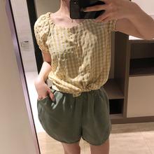 19夏季新品圆领短袖格子衬衫女小清新格纹休闲半袖单排扣上衣9013