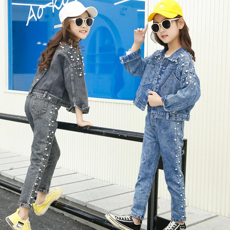2020春装新款女童牛仔套装中大童3-14岁小女孩春秋两件套韩版跨境