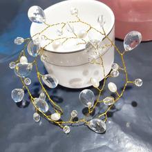 欧美时尚水晶玻璃新娘发带 纯手工珍珠水滴叶子结婚发绳 厂家直销