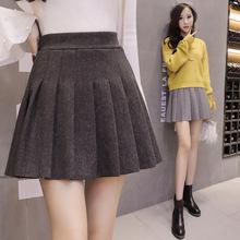 學院風呢子百褶裙顯瘦彈力高腰短裙女學生班服毛呢半身裙秋冬裙子