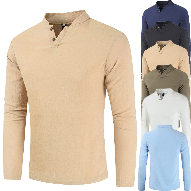Foreign trade new summer men's casual two button long sleeve V-neck t-shirt men's slim linen long sleeve solid color T-shirt