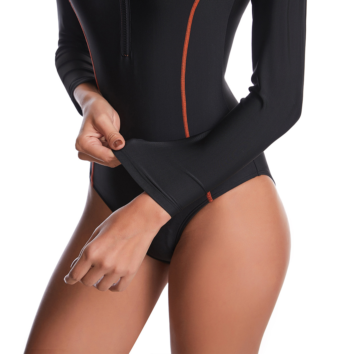 Fashion sunscreen conservative onepiece longsleeved swimsuit wholesale NHHL255495