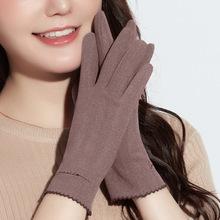 新款女士保暖手套秋冬季防风触屏德绒自发热修手休闲薄款刺绣手套