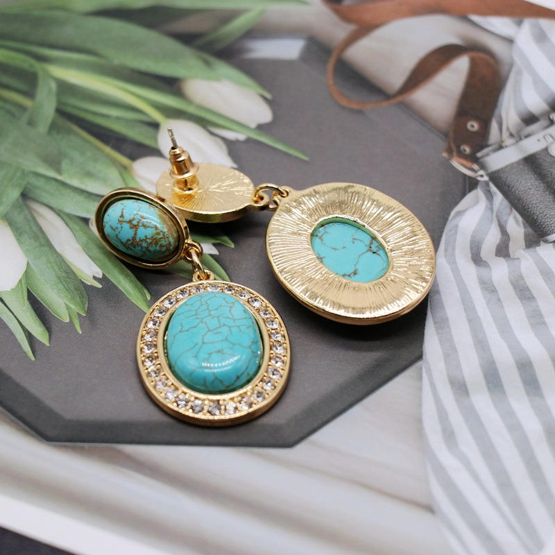Vintage texture exaggerated oval turquoise earrings NHOM152578