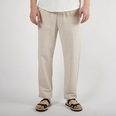 Chinese style tang suit long pants for male Chinese men Cotton hemp men trousers