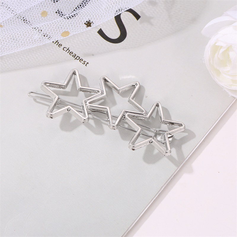 Korean simple hollow five-pointed star one side clip three stars simple metal clip wholesale NHDP246049