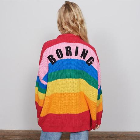 跨境女装欧美新款彩虹条纹撞色V领毛衣女针织开衫大码中长款外套
