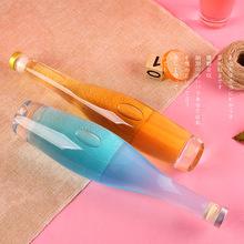 厂家直销冰酒瓶375ml500m创意玻璃酒瓶透明晶白料保龄球定制酒