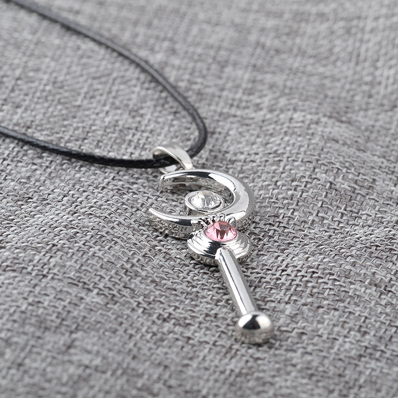 Fashion Moon Holding Star  Moon Staff alloy Pendant Necklace Clavicle Chain NHMO251015