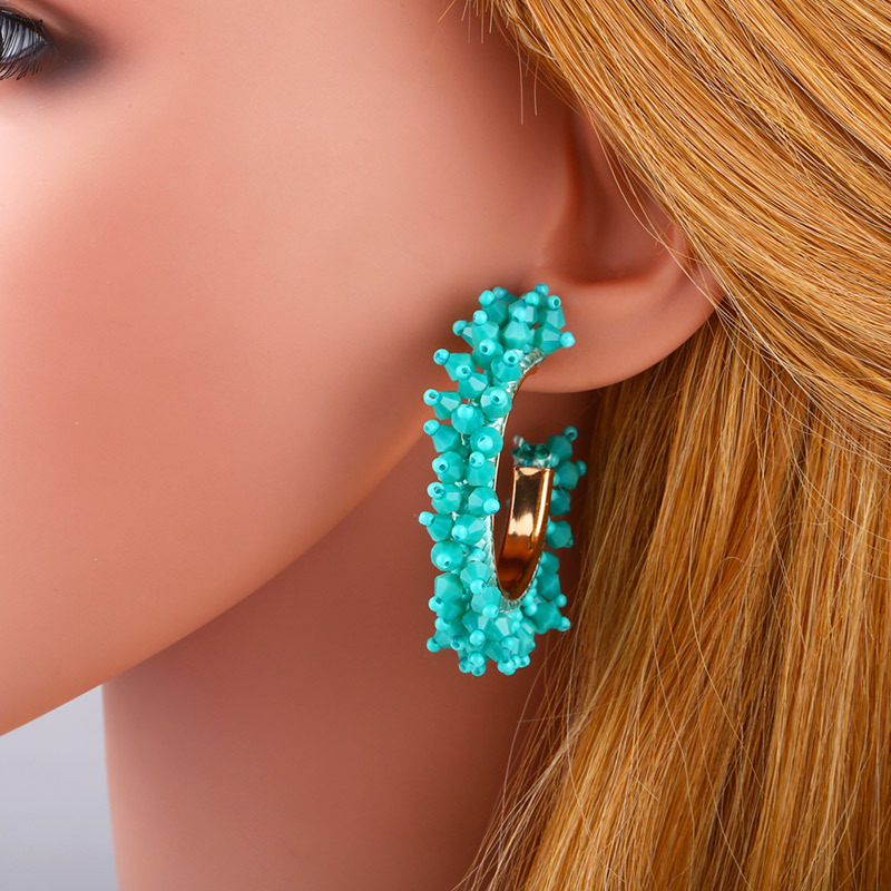 Beaded Acrylic C-shaped hoop earrings NHAS155412