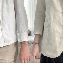 情侣手链女纯银定情信物一对纪念礼物山盟海誓编织手绳男磁铁吸扣