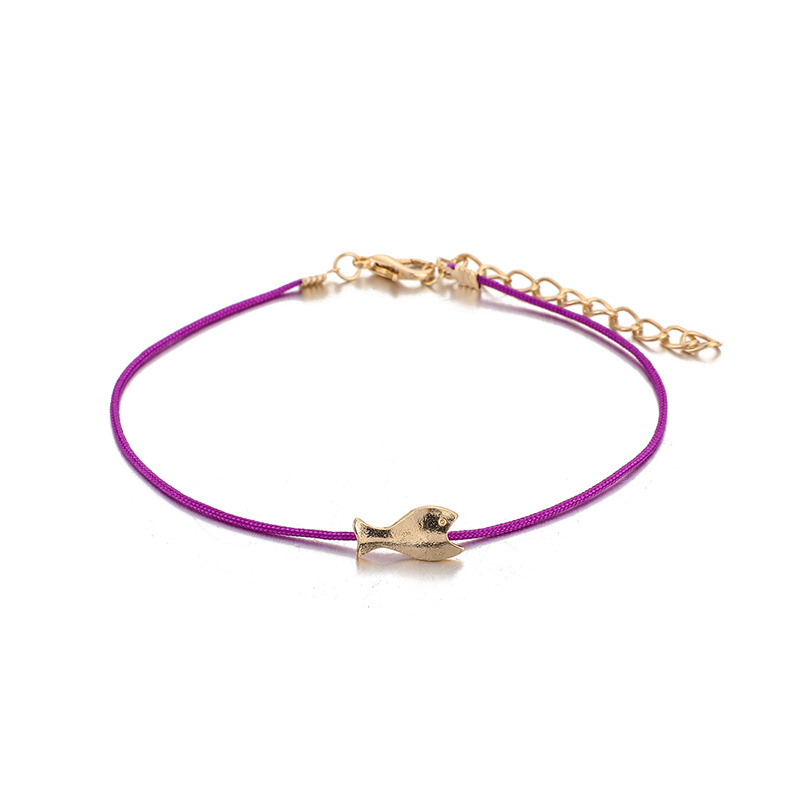 Simple take the colored rice beads fish multi-layer anklet drop-shaped tassel anklet NHGY195390
