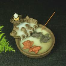 年年有余擺件香插茶道香道創意紫砂金玉滿堂倒流煙香爐陶瓷香薰爐