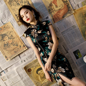 Cheongsam spring / summer 2019 new improved elegant and slim cheongsam girl's daily short cheongsam dress