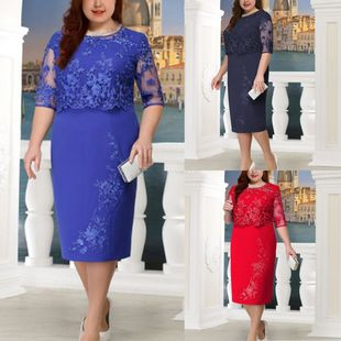 Amazon wish hot-selling lace stitching fake two-piece fat fat outfit plus size dress three-color eight-size spot