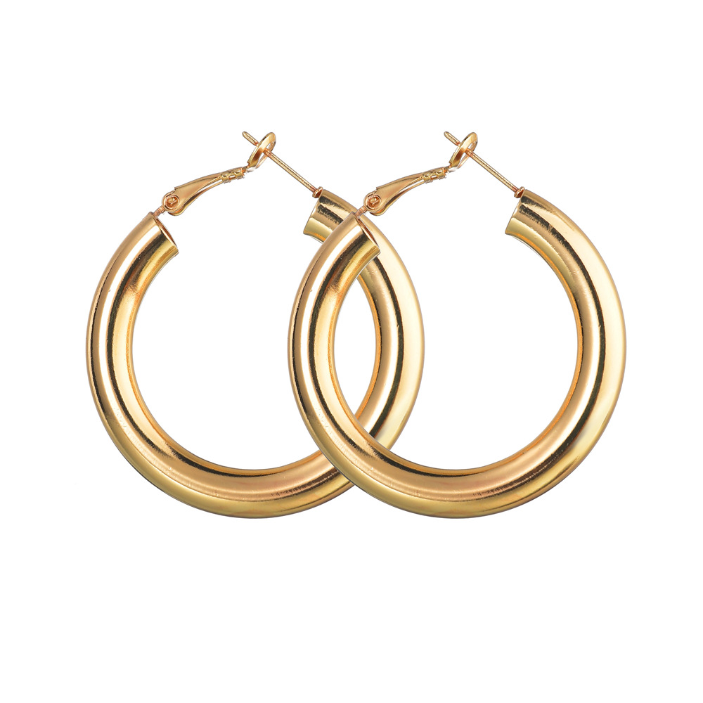 Fashion alloy coarse section C-shaped hollow earrings NHBQ156553