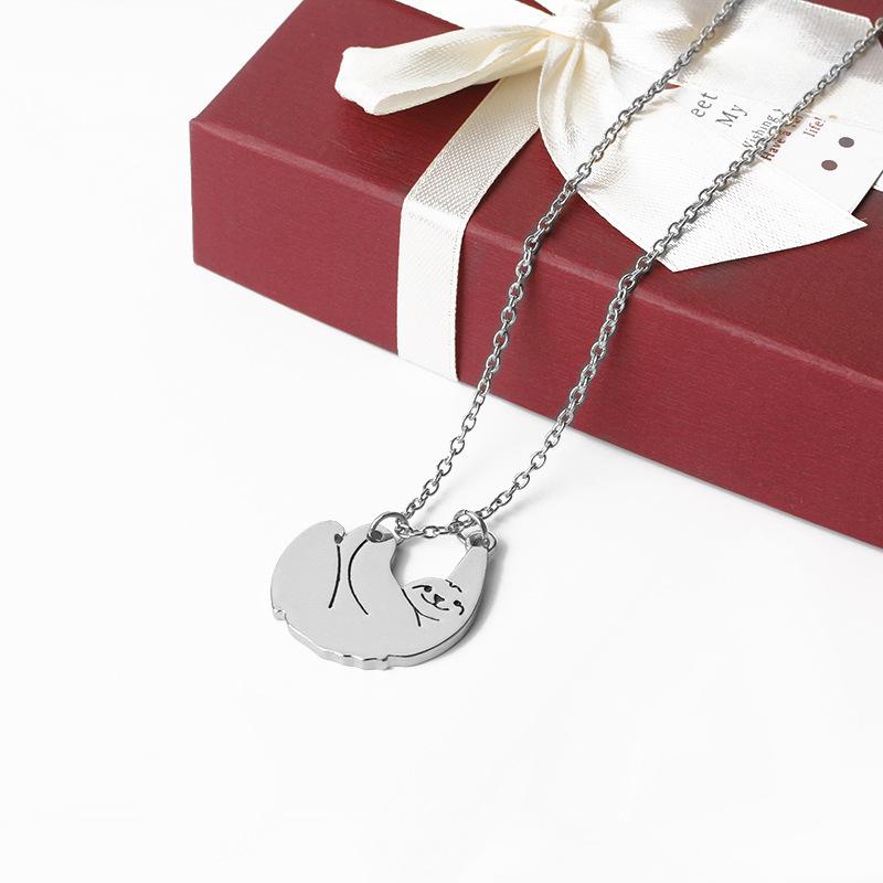 New fashion cute animal koala sloth pendant necklace clavicle chain accessories bear necklace NHMO207906