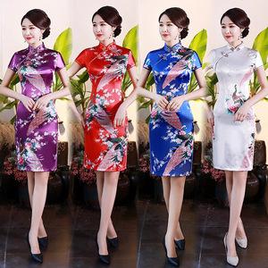 Chinese Dress Qipao for women Cheongsam dress silk printing banquet women's large size dress show